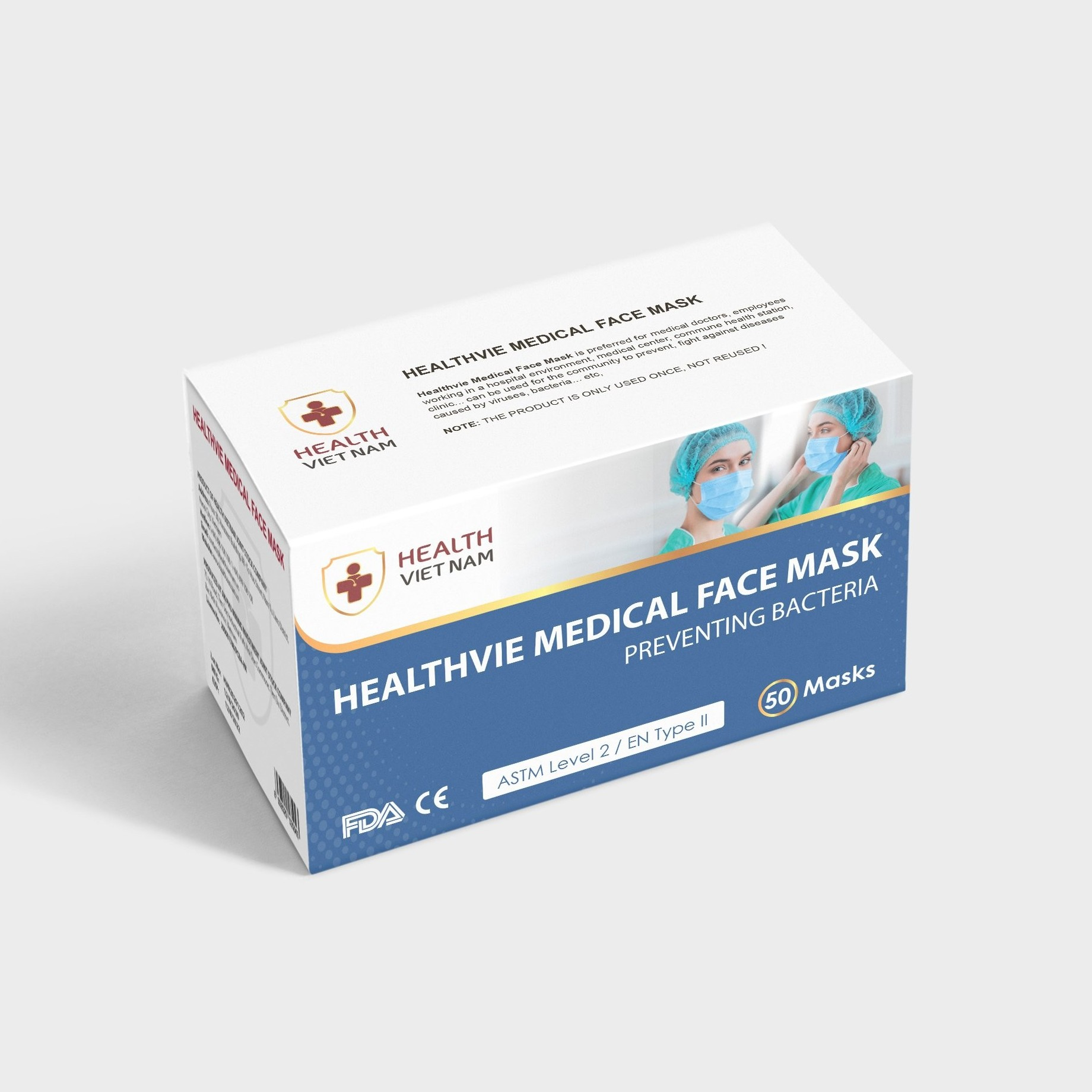 Healthvie Medical Face Mask Preventing Bacteria Level 2 - Export